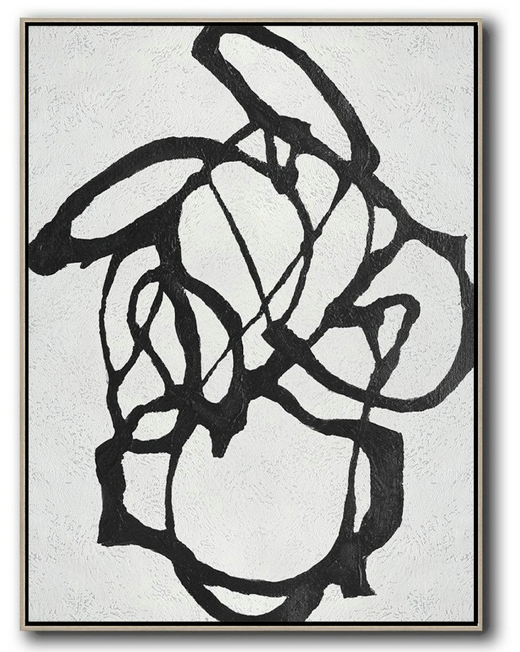 Large Abstract Art Handmade Oil Painting,Black And White Minimal Painting On Canvas,Contemporary Abstract Painting #W2O8
