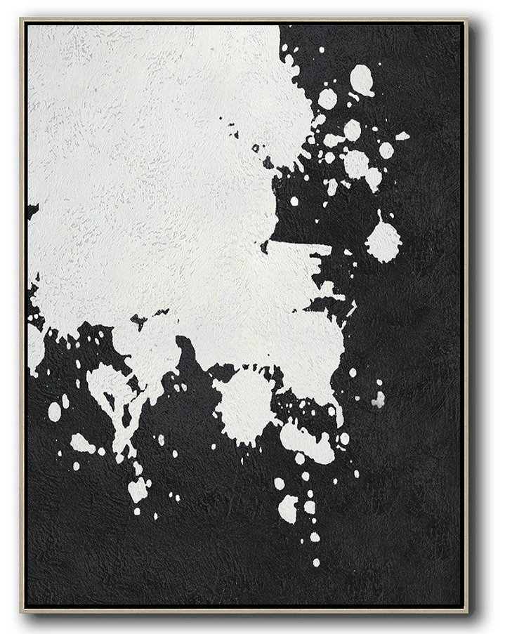Extra Large Painting,Black And White Minimal Painting On Canvas,Abstract Painting For Home #D3V4