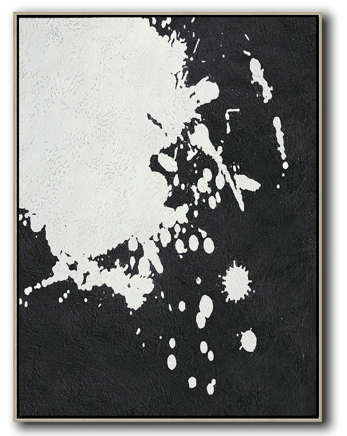 Abstract Painting Extra Large Canvas Art,Black And White Minimal Painting On Canvas,Abstract Paintings On Sale #M9P5