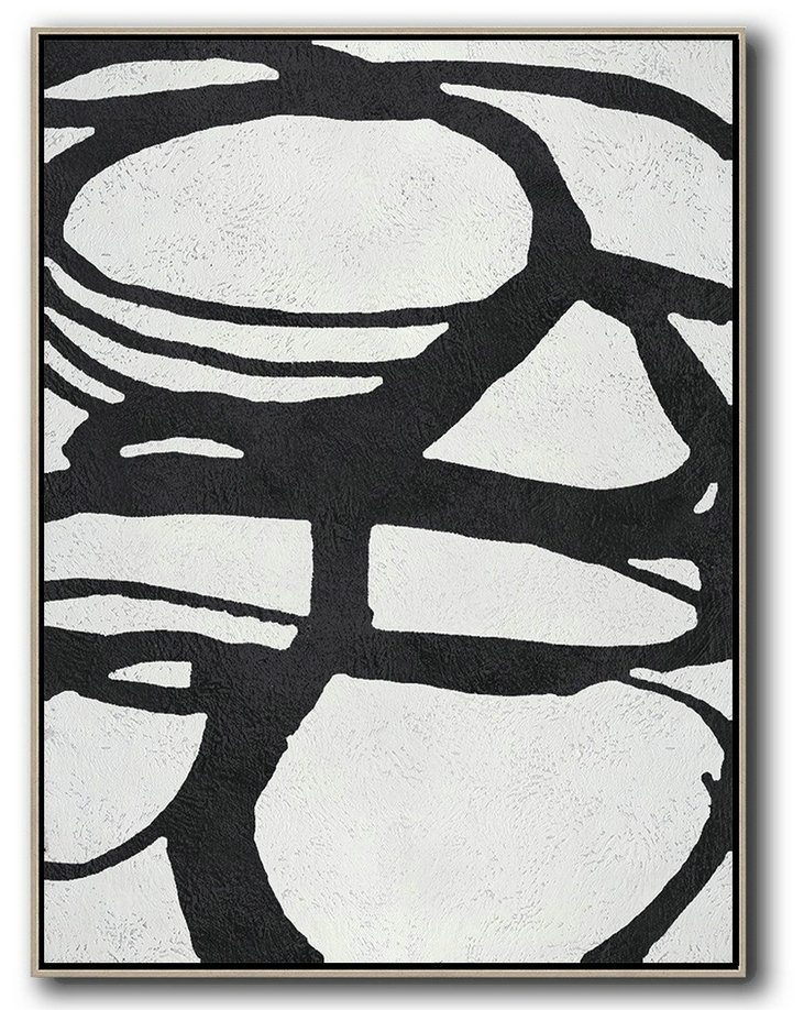 Hand Painted Acrylic Painting,Black And White Minimal Painting On Canvas,Oversized Art #E6M4