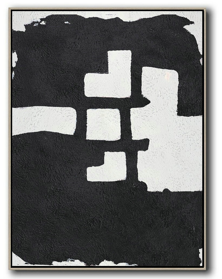 Abstract Painting Extra Large Canvas Art,Black And White Minimal Painting On Canvas,Big Painting #S6K3