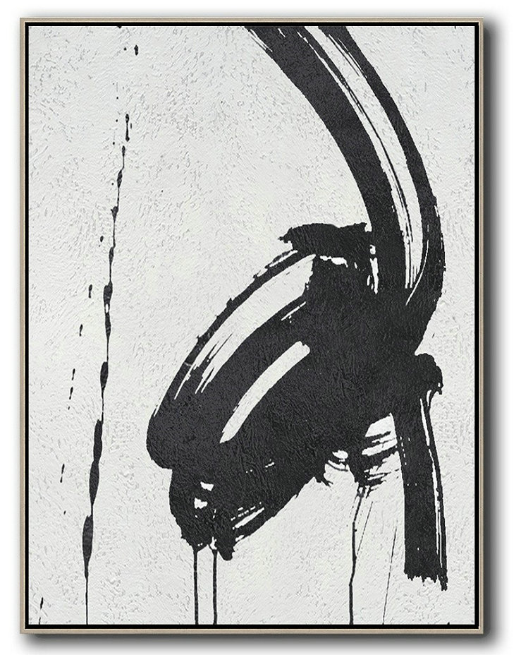 Large Abstract Painting,Black And White Minimal Painting On Canvas,Artwork For Sale #G4F8