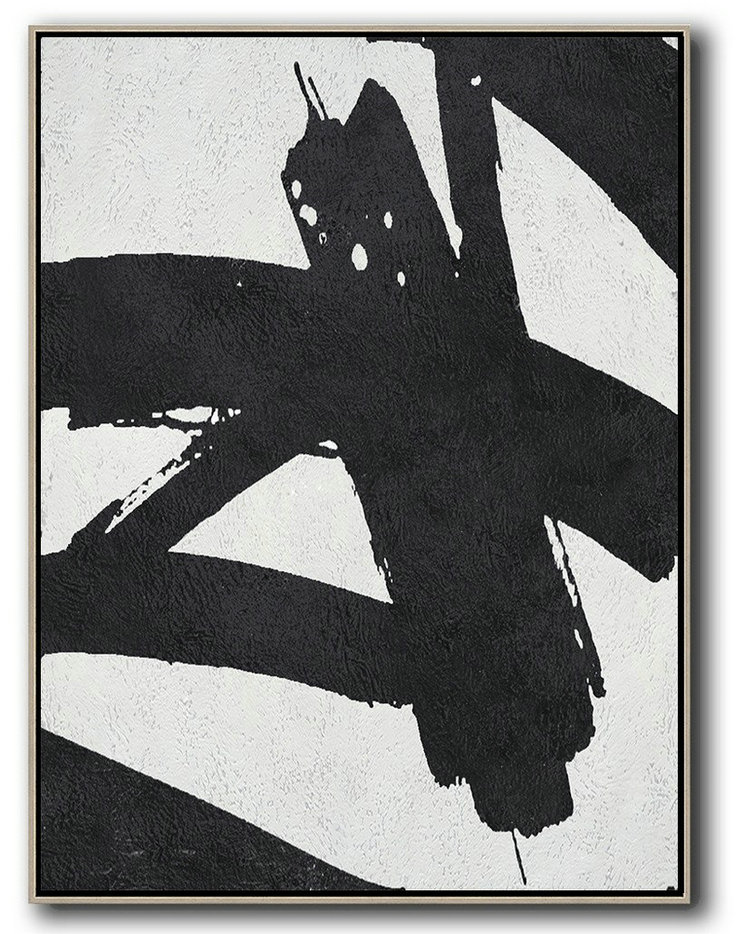 Huge Wall Decor,Black And White Minimal Painting On Canvas,Hand Paint Abstract Painting #I4S2
