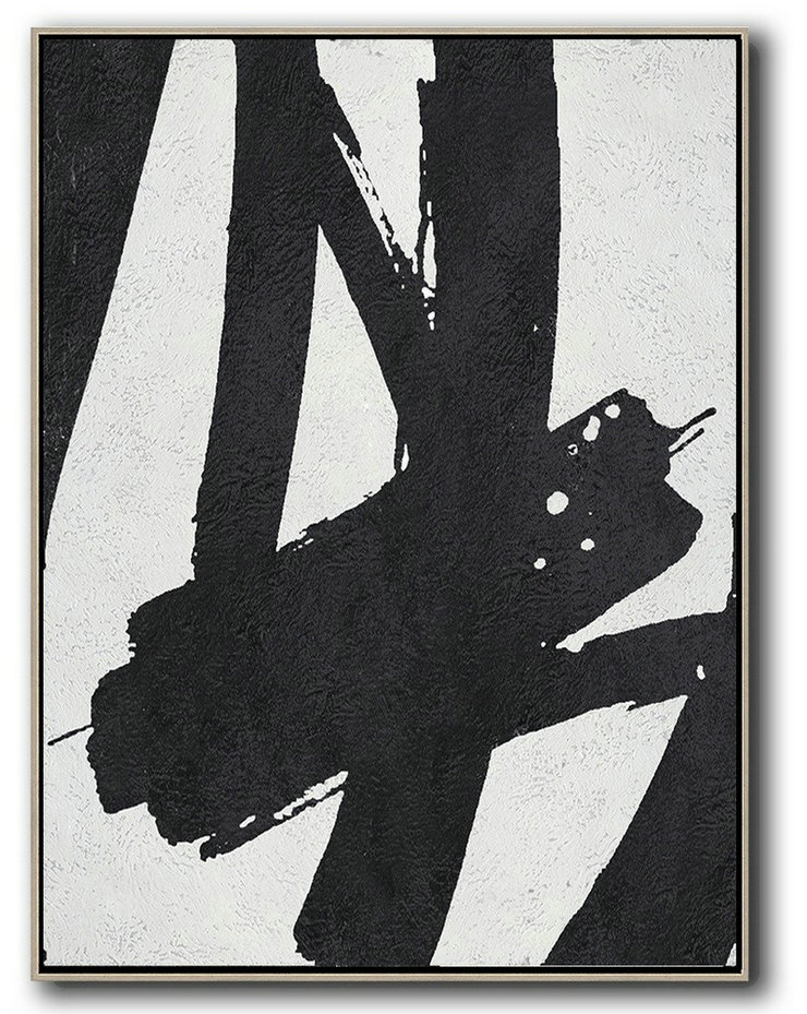 Decorating A Big Living Room,Black And White Minimal Painting On Canvas,Large Contemporary Art Canvas Painting #B8L6