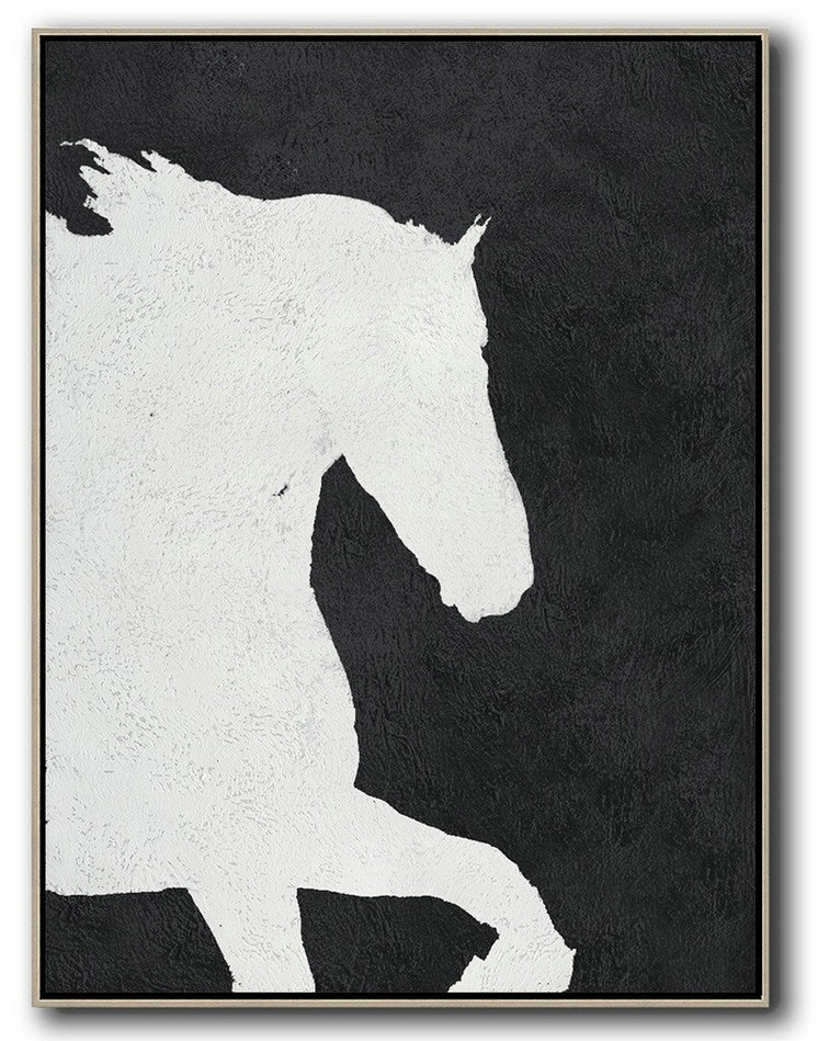 Original Extra Large Wall Art,Black And White Minimal Painting On Canvas,Canvas Wall Art #D3V7