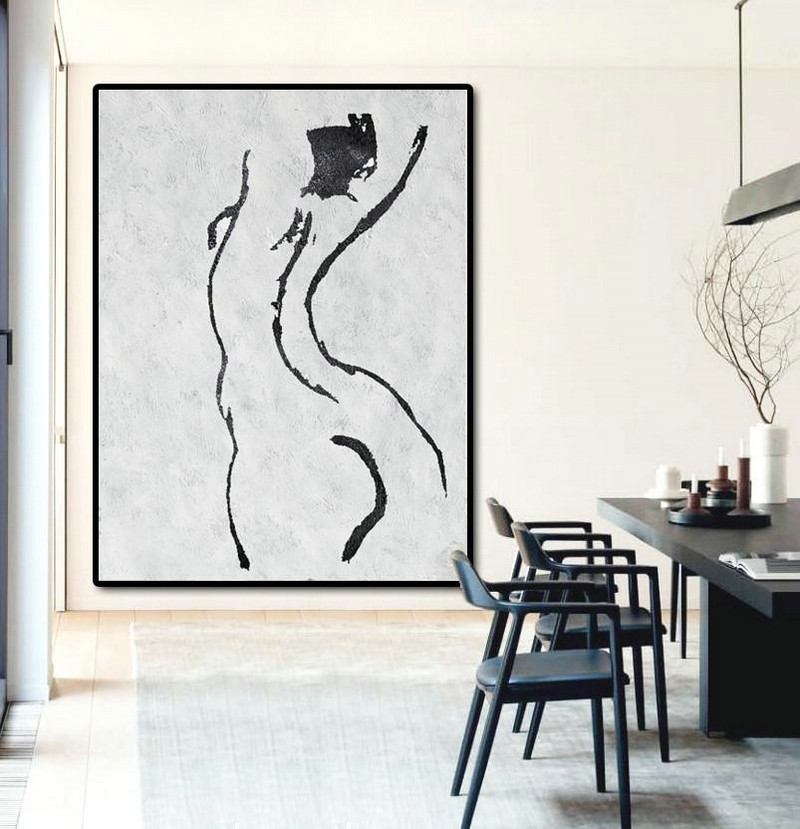 Abstract Art Decor Large Canvas Painting,Black And White Minimal Painting On Canvas,Canvas Paintings For Sale #H6F2