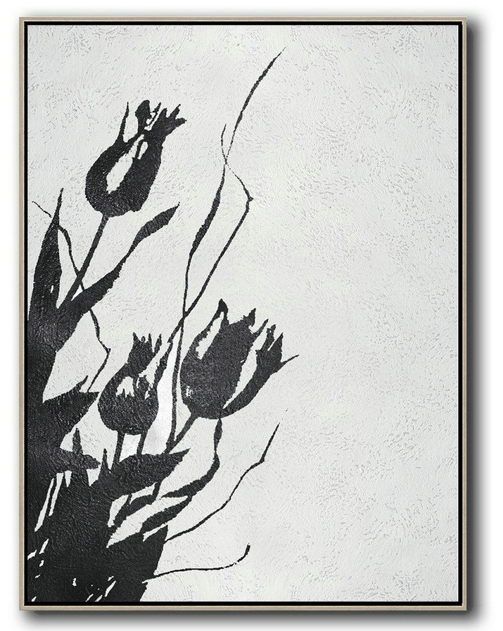 Original Art For Sale By Artist,Black And White Minimal Painting On Canvas,Abstract Painting For Home #F3Q6