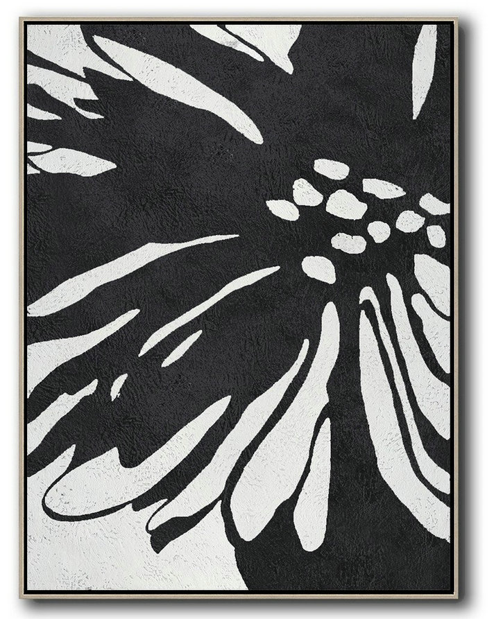 Huge Abstract Painting On Canvas,Black And White Minimal Painting On Canvas,Acrylic Painting On Canvas #F2Q4