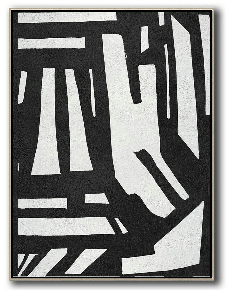 Textured Painting Canvas Art,Black And White Minimal Painting On Canvas,Large Wall Canvas Paintings #Q7E8