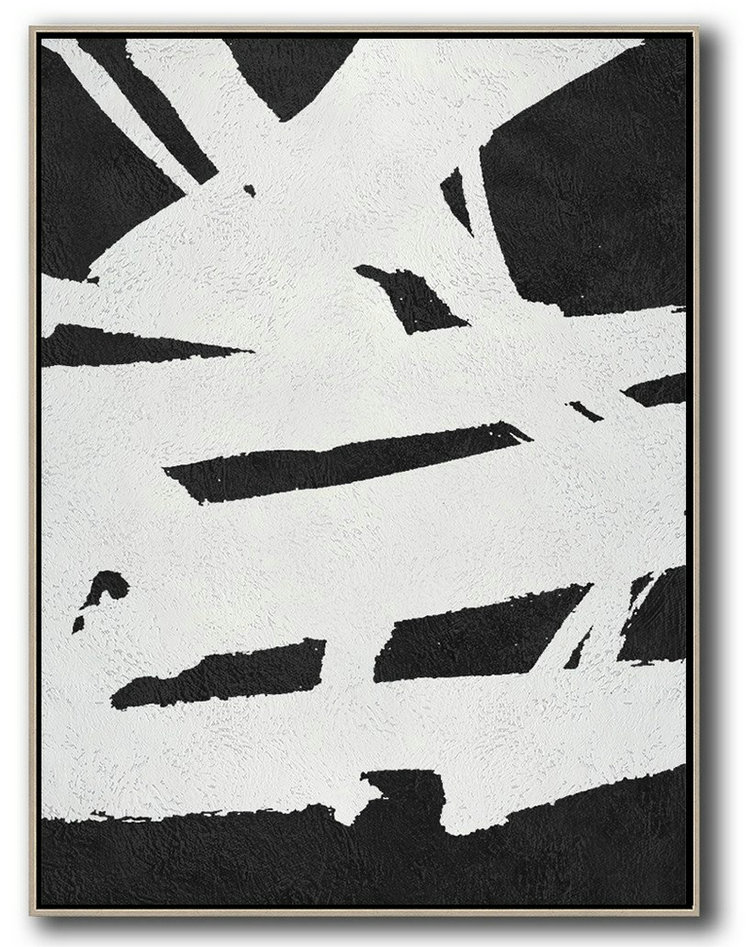 Large Abstract Painting,Black And White Minimal Painting On Canvas,Family Wall Decor #G6D8