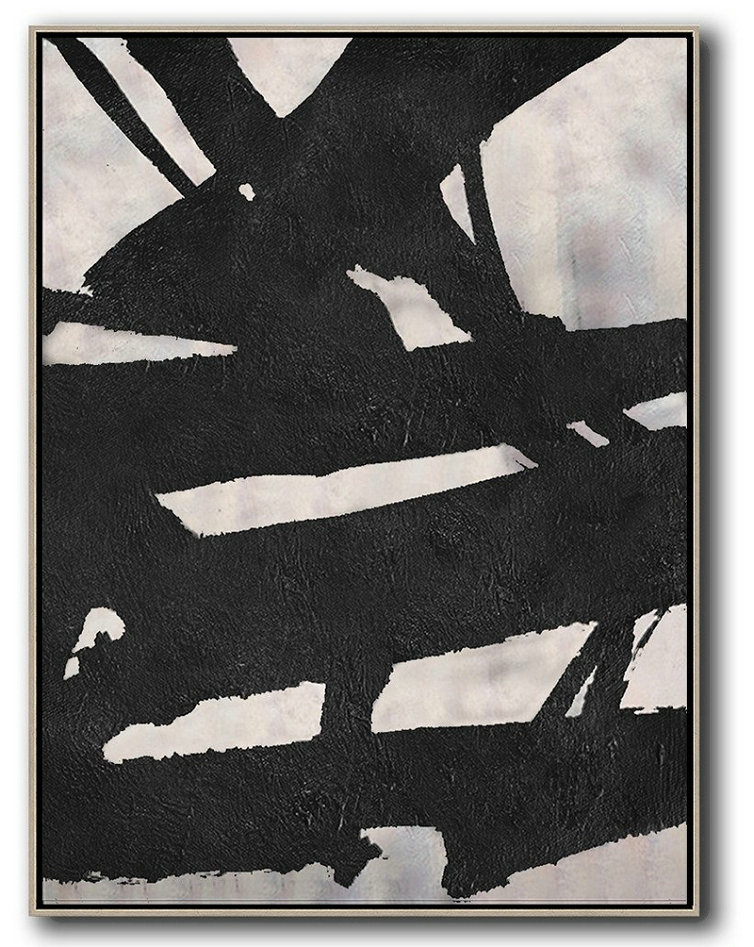 Abstract Painting Extra Large Canvas Art,Black And White Minimal Painting On Canvas,Wall Art Painting #A8M5