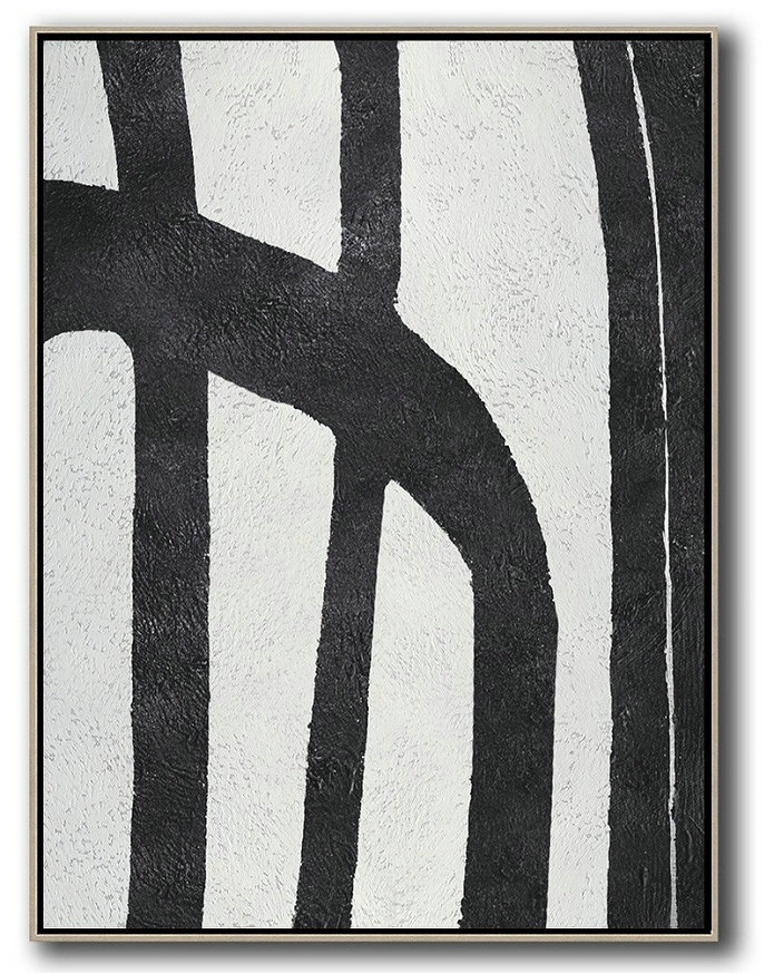 Abstract Painting Modern Art,Black And White Minimal Painting On Canvas,Decorating A Big Living Room #G9M6