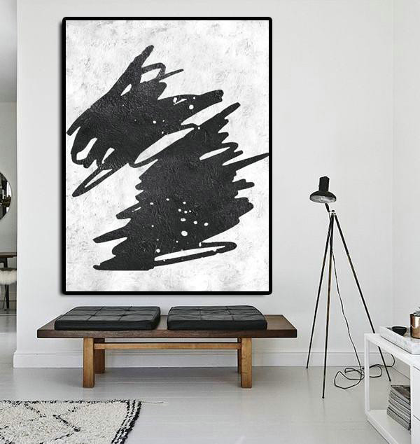 Abstract Oil Painting,Black And White Minimal Painting On Canvas,Original Abstract Art Paintings #I5E6