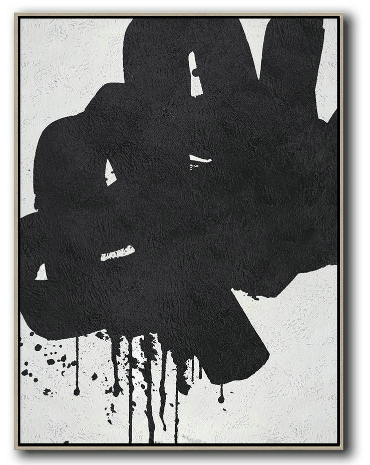 Acrylic Painting On Canvas,Black And White Minimal Painting On Canvas,Abstract Painting For Home #J5K4