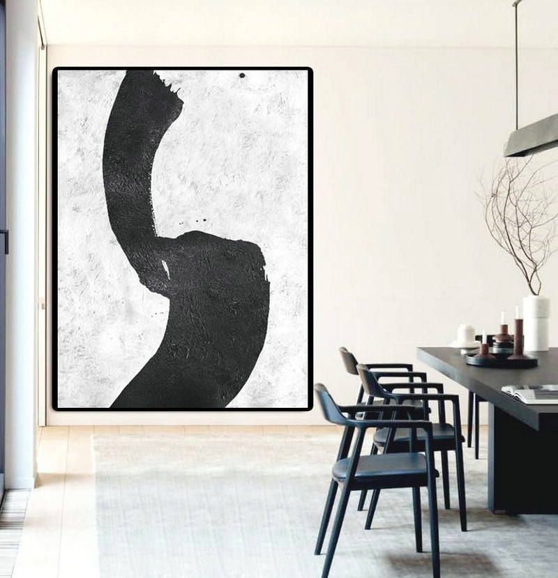 Modern Canvas Art,Black And White Minimal Painting On Canvas,Original Abstract Oil Paintings #H0R9