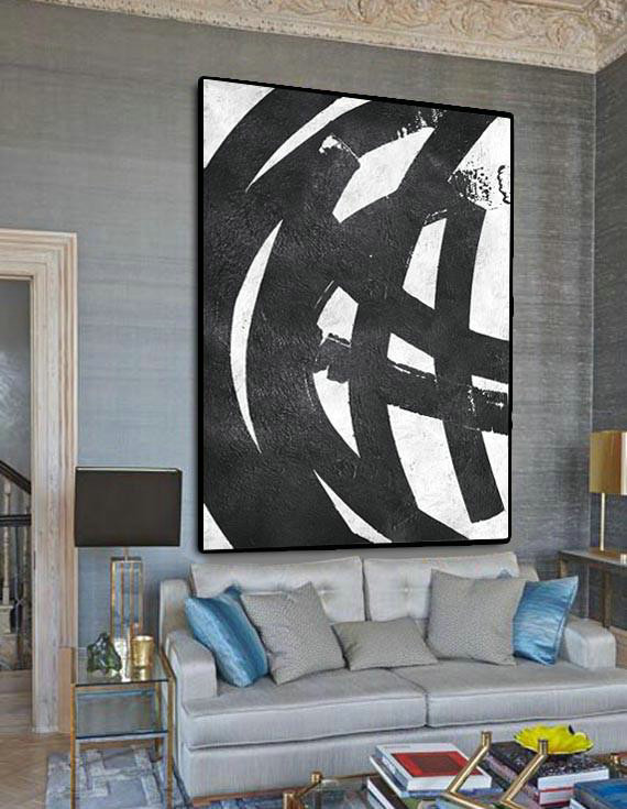 Canvas Paintings For Sale,Black And White Minimal Painting On Canvas,Large Living Room Decor #V2X8