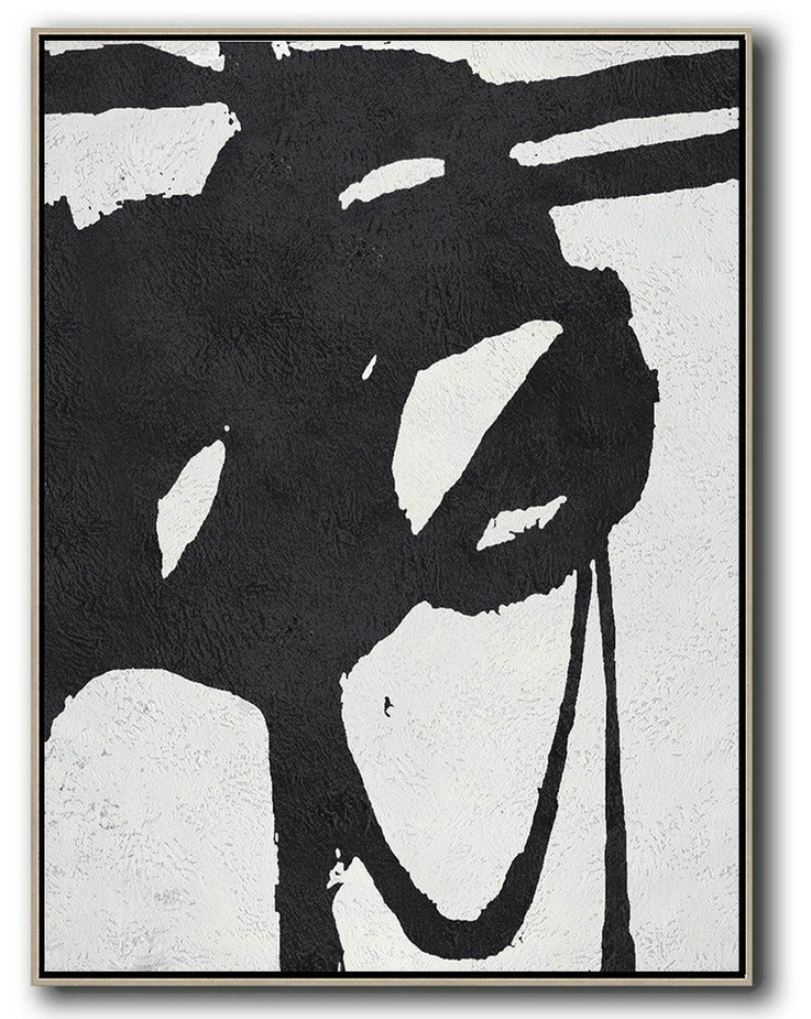 Hand Painted Extra Large Abstract Painting,Black And White Minimal Painting On Canvas,Personalized Canvas Art #B6K9