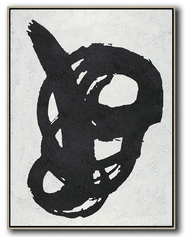 Wall Art Ideas For Living Room,Black And White Minimal Painting On Canvas,Big Painting #Z7I6