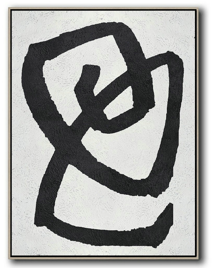 Original Artwork Extra Large Abstract Painting,Black And White Minimal Painting On Canvas,Hand Paint Abstract Painting #R1L2