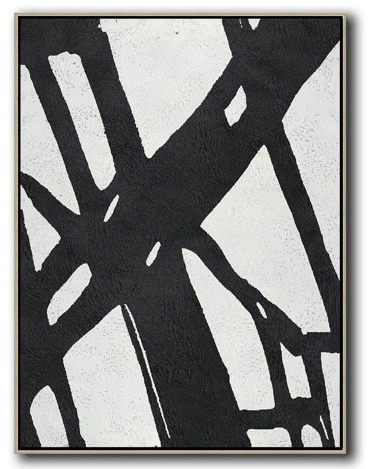 Extra Large Canvas Art,Black And White Minimal Painting On Canvas,Home Canvas Wall Art #O8D9