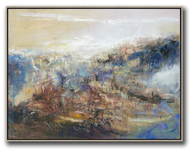 Original Artwork Extra Large Abstract Painting,Abstract Landscape Oil Painting,Modern Art Abstract Painting Light Yellow,Brown,Blue,White