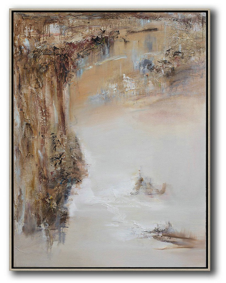 "Extra Large 72"" Acrylic Painting,Abstract Landscape Oil Painting,Hand Paint Abstract Painting Brown,White,Grey"