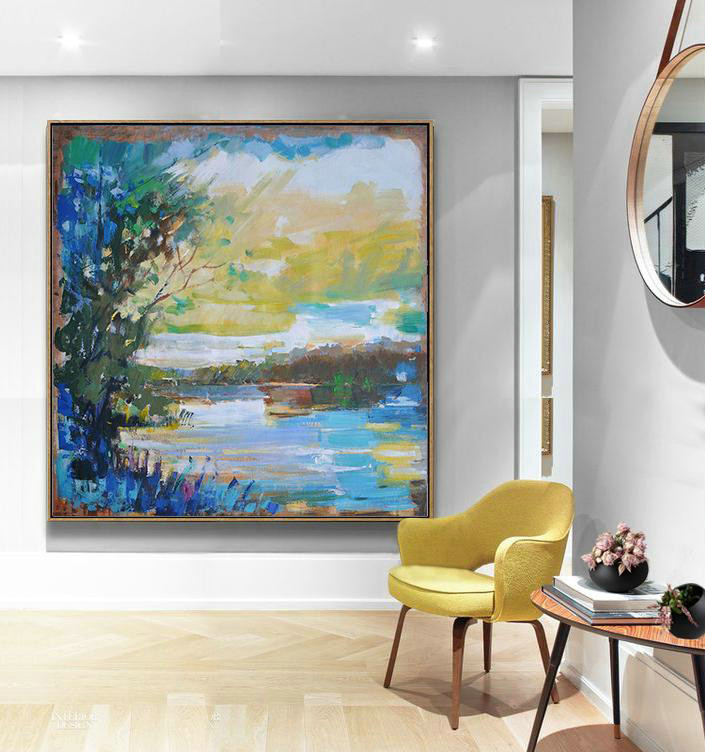Abstract Painting Extra Large Canvas Art,Abstract Landscape Oil Painting,Acrylic Minimailist Painting Yellow,White,Dark Green,Blue