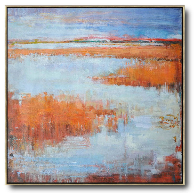 Extra Large Canvas Art,Abstract Landscape Oil Painting,Hand Paint Large Art Blue,Orange,Purple Grey,Red
