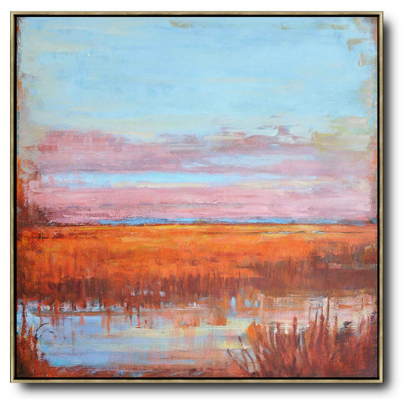 Extra Large Abstract Painting On Canvas,Abstract Landscape Oil Painting,Original Art Blue,Pink,Orange,Red