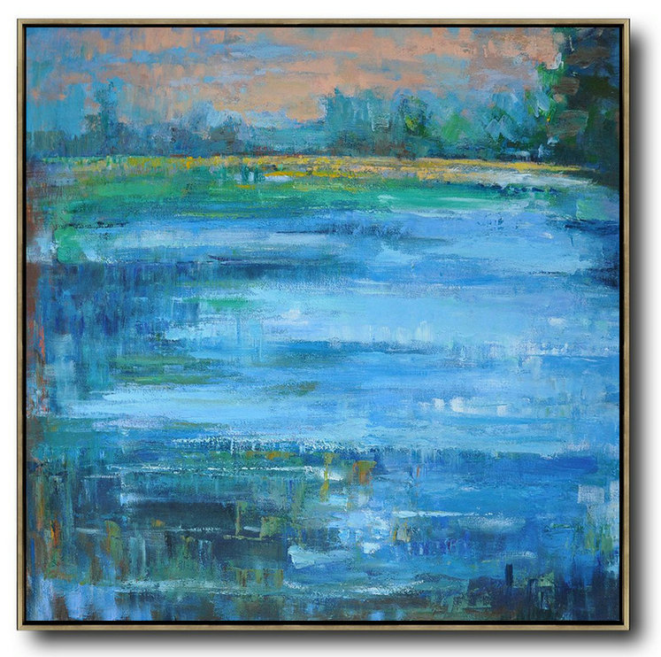 Extra Large Acrylic Painting On Canvas,Abstract Landscape Oil Painting,Large Wall Art Canvas Earthy Yellow ,Blue,Green