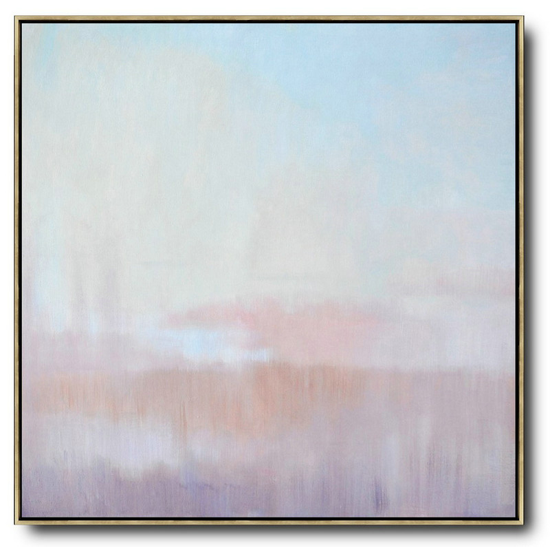 Original Abstract Painting Extra Large Canvas Art,Abstract Landscape Oil Painting,Large Contemporary Painting Sky Blue,Pink,Light Yellow