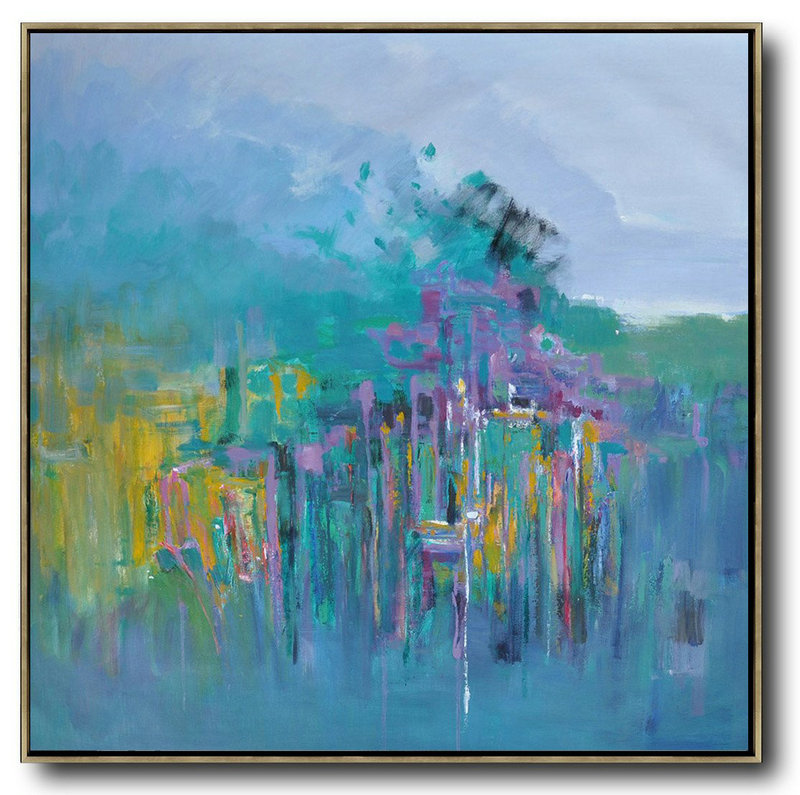 Extra Large Acrylic Painting On Canvas,Abstract Landscape Oil Painting,Modern Canvas Art Purple Grey,Lake Blue,Purple,Yellow