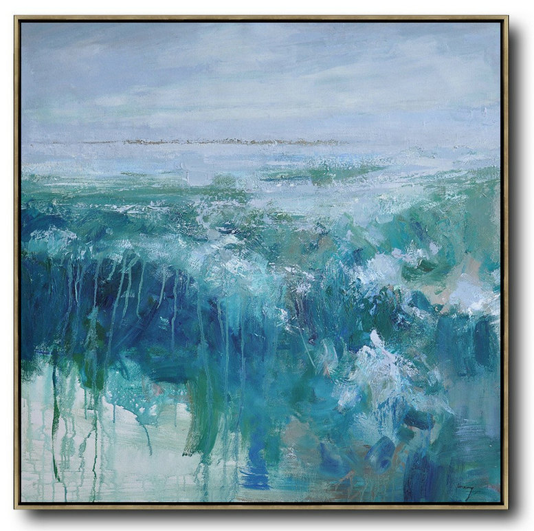 Handmade Extra Large Contemporary Painting,Abstract Landscape Oil Painting,Artwork For Sale Purple Grey,Lake Blue,Dark Blue,White