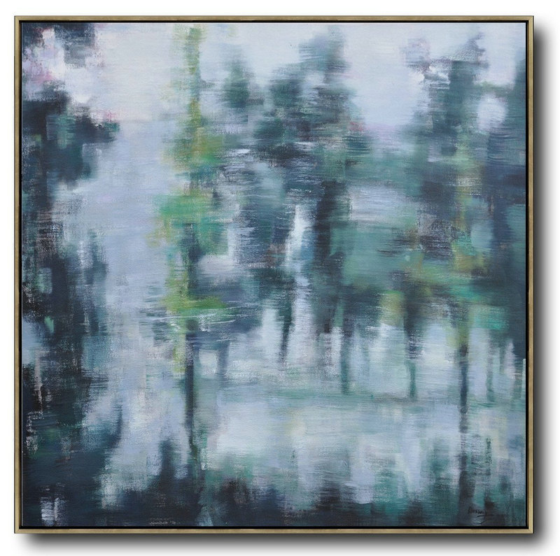 Hand Painted Extra Large Abstract Painting,Abstract Landscape Oil Painting,Hand Painted Acrylic Painting White,Grey,Dark Green
