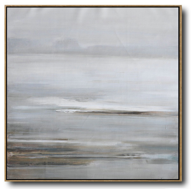 "Extra Large 72"" Acrylic Painting,Large Abstract Landscape Oil Painting On Canvas,Extra Large Paintings White,Grey,Brown"