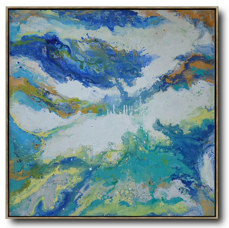 Extra Large Abstract Painting On Canvas,Contemporary Oil Painting,Large Paintings For Living Room White,Orange,Blue,Lake Blue