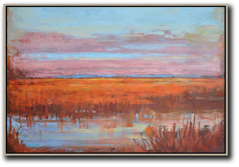 Large Abstract Painting,Horizontal Abstract Landscape Oil Painting On Canvas,Canvas Wall Art Sky Blue,Pink,Orange,Red
