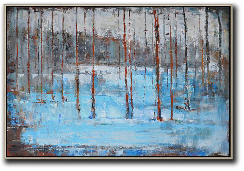 Large Abstract Painting,Horizontal Abstract Landscape Oil Painting On Canvas,Huge Abstract Canvas Art Blue,Grey,Red,White,Brown