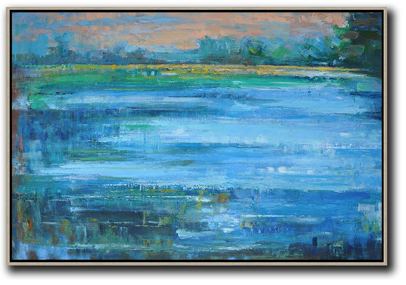 Large Abstract Art,Horizontal Abstract Landscape Oil Painting On Canvas,Art Work Pink,Blue,Green,Yellow