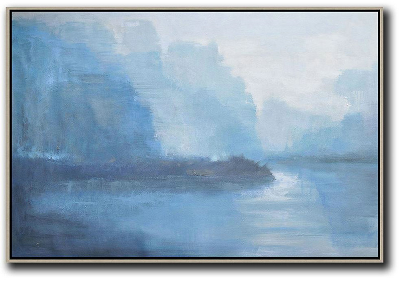 Large Abstract Art Handmade Oil Painting,Horizontal Abstract Landscape Oil Painting On Canvas,Canvas Artwork For Sale Purple Grey,Blue,White