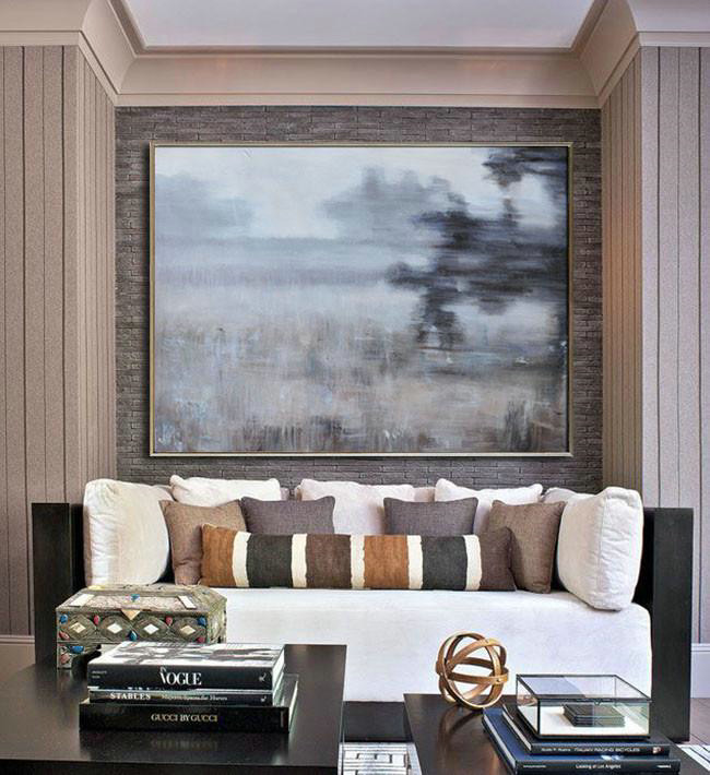 Large Abstract Art Handmade Oil Painting,Horizontal Abstract Landscape Oil Painting On Canvas,Modern Art White,Grey,Brown,Black