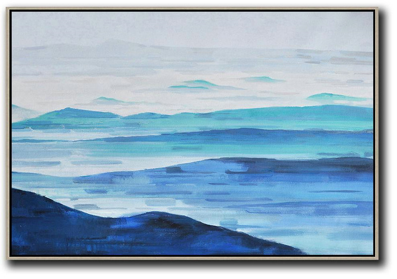 Original Extra Large Wall Art,Horizontal Abstract Landscape Oil Painting On Canvas,Size Extra Large Abstract Art Grey,White,Blue
