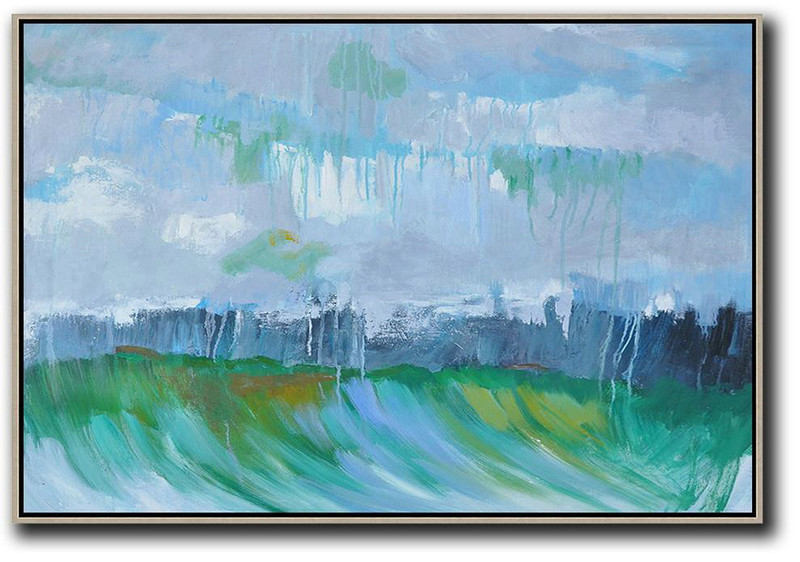 Original Extra Large Wall Art,Horizontal Abstract Landscape Oil Painting On Canvas,Large Abstract Wall Art Purple Grey,Green,Dark Blue