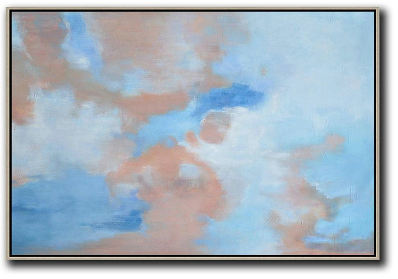 Large Modern Abstract Painting,Horizontal Abstract Landscape Oil Painting On Canvas,Modern Canvas Art Blue,Pink,White