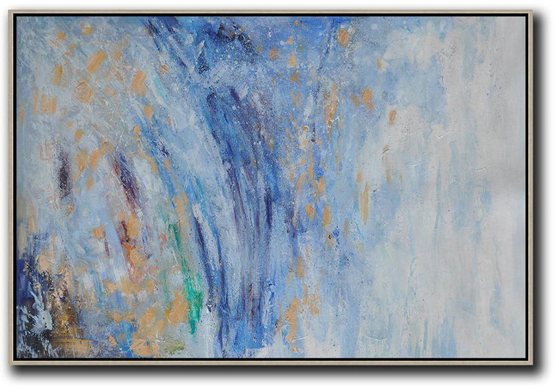 Extra Large Acrylic Painting On Canvas,Horizontal Abstract Landscape Oil Painting On Canvas,Wall Art Painting Blue,Grey,Yellow