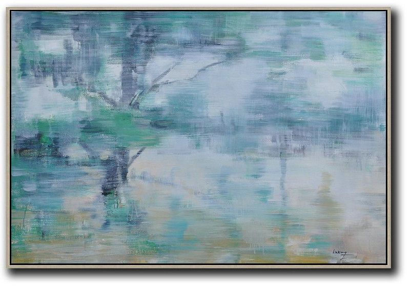 Extra Large Acrylic Painting On Canvas,Horizontal Abstract Landscape Oil Painting On Canvas,Hand Painted Original Art Green,Light Yellow,Black