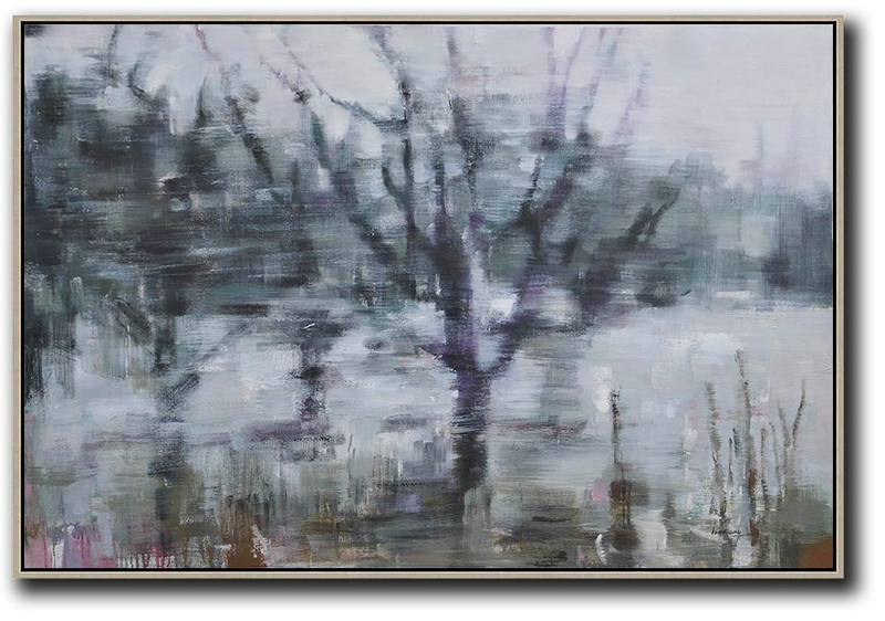 Original Abstract Painting Extra Large Canvas Art,Horizontal Abstract Landscape Oil Painting On Canvas,Abstract Art Decor Large Canvas Painting White,Dark Green,Purple,Black