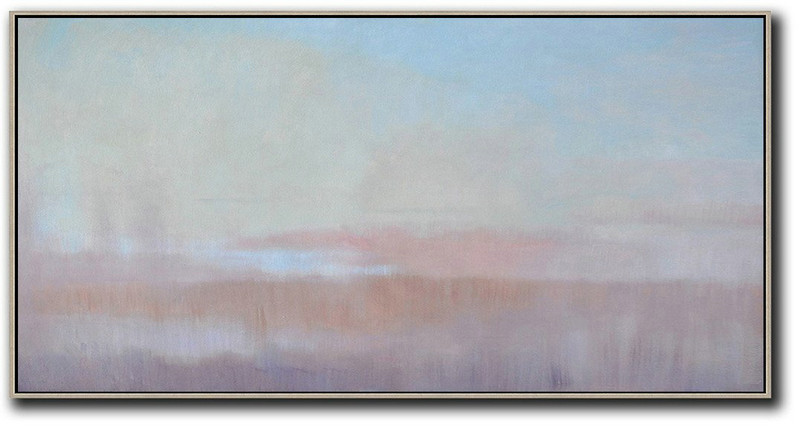 Extra Large Painting,Panoramic Abstract Landscape Painting,Acrylic Painting Large Wall Art Sky Blue,Light Yellow,Pink
