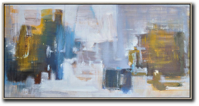 Handmade Large Contemporary Art,Panoramic Abstract Landscape Painting,Large Oil Canvas Art Yellow,Blue,White,Purple Grey