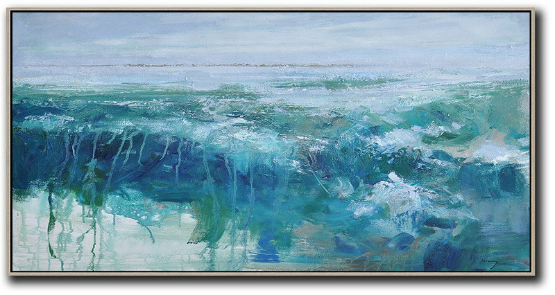 Large Contemporary Art Acrylic Painting,Panoramic Abstract Landscape Painting,Large Canvas Wall Art For Sale Purple Grey,Dark Blue,Green
